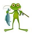 goggle-eyed frog fisherman vector image vector image