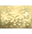 Golden festive lights in heart shape background vector image vector image