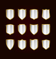 golden realistic shields icon set protection vector image vector image