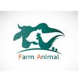 group animal farm label vector image