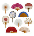 hand paper fan set oriental beautiful cooling vector image vector image