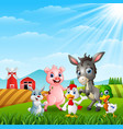 happy little animals farm at hills vector image vector image