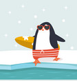 happy penguin holding surfboard vector image vector image