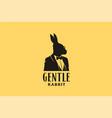 hare rabbit bow tie tuxedo suit silhouette logo vector image