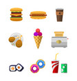 icons sweet fast food elements vector image