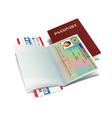 international passport with belgium visa vector image vector image