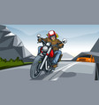 landscape with a motorcycle rider vector image