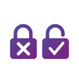 lock with cross and check mark for lock unlock vector image vector image