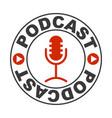 logo icon radio voice podcast microphone vector image