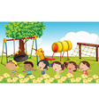 Many children playing in the park vector image vector image