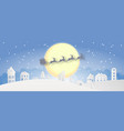 merry christmas snowy town day night and happy vector image vector image