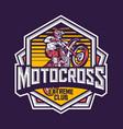 motocross extreme sport badge label design vector image