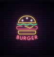 neon sign of burger neon cafe emblem bright vector image