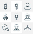 people outline icons set collection of head man vector image vector image