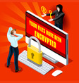 ransomware malware cyber crime infographic vector image vector image