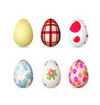 realistic 3d easter egg set happy easter painted vector image