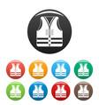rescue vest icons set color vector image