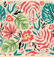 seamless tropical pattern with leaves and flowers vector image