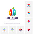 set of colorful apple logo design concept fruit vector image
