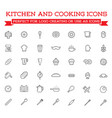 set of cooking kitchen icons includes icons of vector image vector image