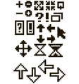 Set of different black pixel font symbols vector image vector image