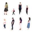 set silhouette walking people and children vector image vector image