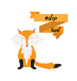 stop hunting with fox ribbon vector image vector image
