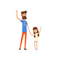 super hero dad and his daughter waving hands vector image