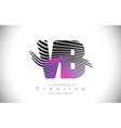 vb v b zebra texture letter logo design vector image vector image