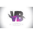 vb v b zebra texture letter logo design with vector image