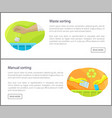 waste and manual sorting set vector image vector image