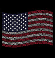 waving usa flag stylized composition of work text vector image vector image