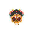 yellow mexican female skull with painted ornaments vector image
