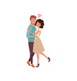 young man and woman characters in love hugging and vector image vector image