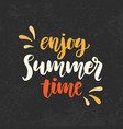 enjoy summer time phrase vector image