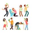 cartoon man and woman alcoholic people drunkard vector image