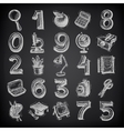25 sketch education icons numbers and objects on vector image