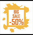 a big autumn sale of fifty percent surrounded by vector image