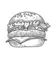 a burger in line style design element for emblem vector image