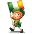 A old man with the flag of Ireland vector image