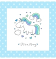 bashower card with unicorn vector image vector image