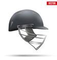 black cricket helmet side view vector image vector image