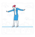 businesswoman walking on a wire- line design style vector image vector image