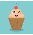 cartoon cupcake bakery design isolated vector image vector image