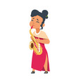 cartoon girl playing sax female in red dress and vector image