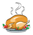 cartoon image of cooked turkey vector image vector image