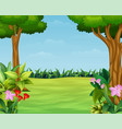 cartoon of nature scene with beautiful park vector image vector image