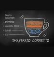 chalk drawn hakerato corretto coffee recipe vector image vector image