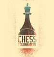 chess tournament stencil spray grunge poster vector image vector image