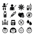 Childhood vaccinations chicken pox icon set vector image vector image